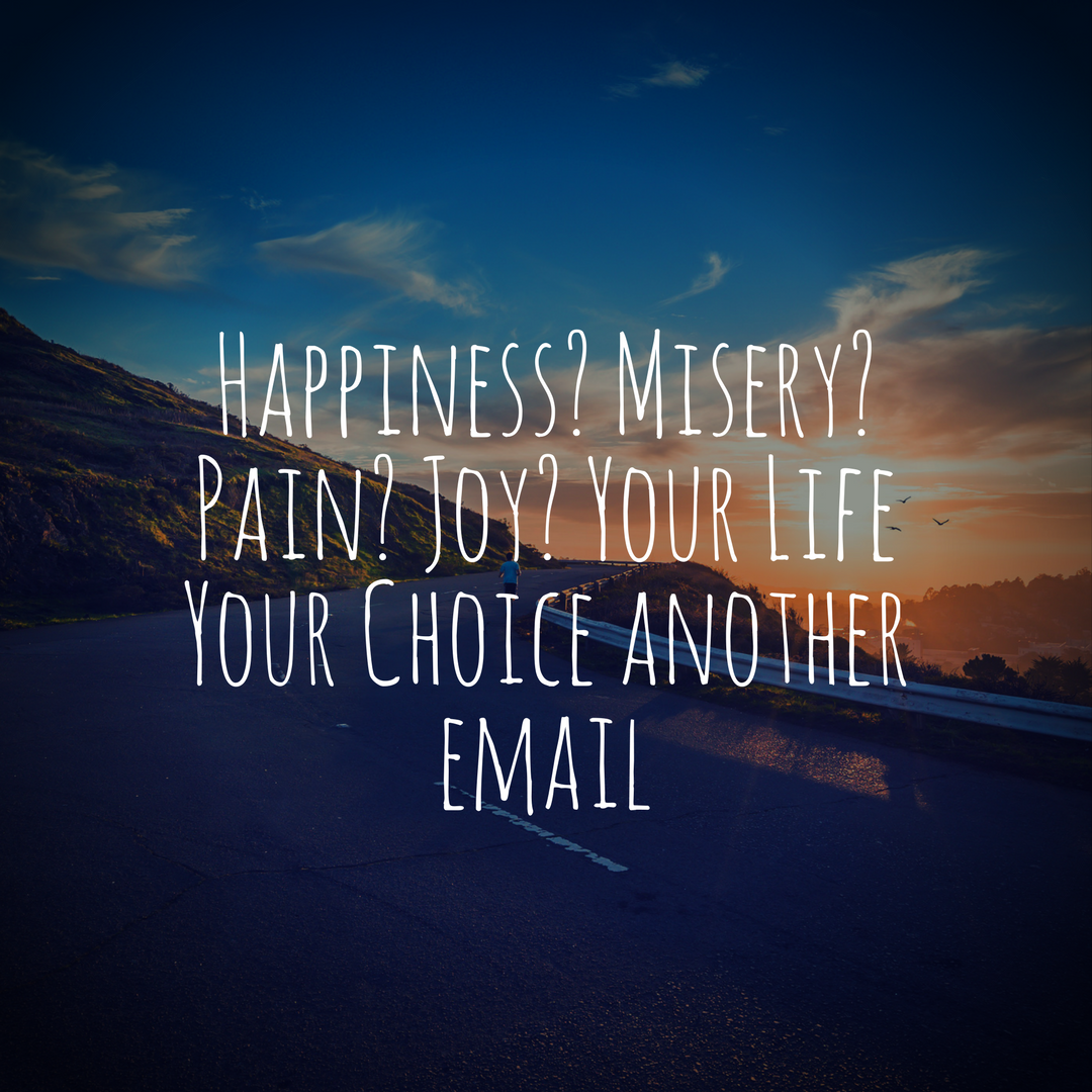 Happiness? Misery? Pain? Joy? Your Life Your Choice another email